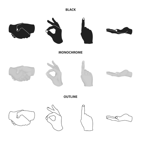 Handshake, okay, index up, palm. Hand gesturesv set collection icons in black,monochrome,outline style bitmap symbol stock illustration web. Stock Photo