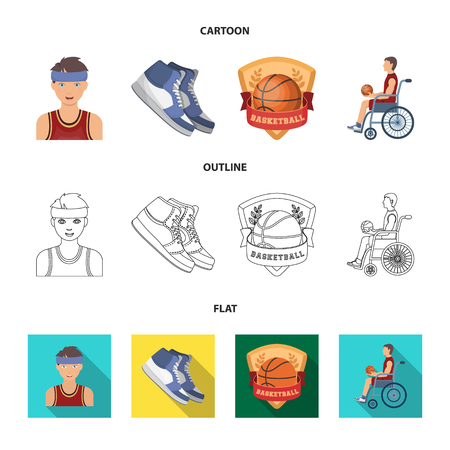 Basketball and attributes cartoon,outline,flat icons in set collection for design.Basketball player and equipment bitmap symbol stock web illustration. Imagens