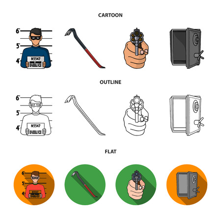 Photo of criminal, scrap, open safe, directional gun.Crime set collection icons in cartoon,outline,flat style bitmap symbol stock illustration web. Stock Photo