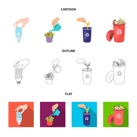 Energy-saving light bulb, watering a houseplant and other web icon in cartoon,outline,flat style. garbage can with waste and garbage icons in set collection.