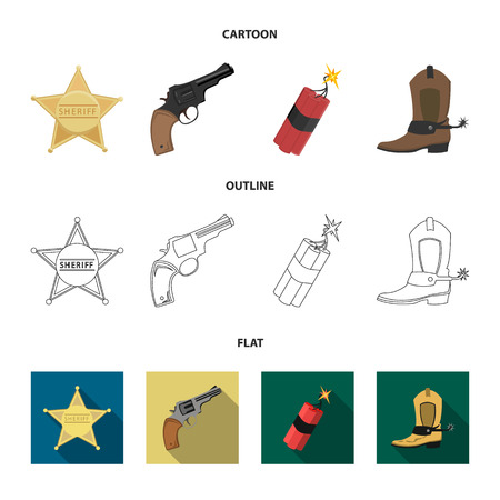 Star sheriff, Colt, dynamite, cowboy boot. Wild West set collection icons in cartoon,outline,flat style bitmap symbol stock illustration web.