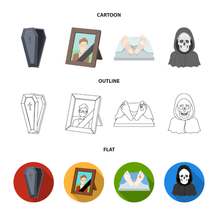 Coffin with a lid and a cross, a photograph of the deceased with a mourning ribbon, a corpse on the table with a tag in the morgue, death in a hood. Funeral ceremony set collection icons in cartoon,outline,flat style bitmap symbol stock illustration web. Stock Photo