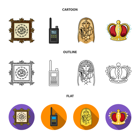 Picture, sarcophagus of the pharaoh, walkie-talkie, crown. Museum set collection icons in cartoon,outline,flat style bitmap symbol stock illustration web.