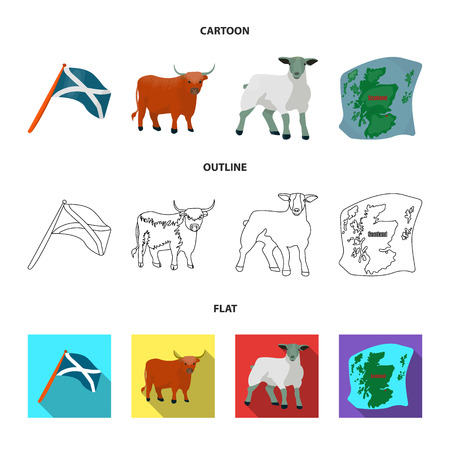 The state flag of Andreev, Scotland, the bull, the sheep, the map of Scotland. Scotland set collection icons in cartoon,outline,flat style bitmap symbol stock illustration web. Stok Fotoğraf