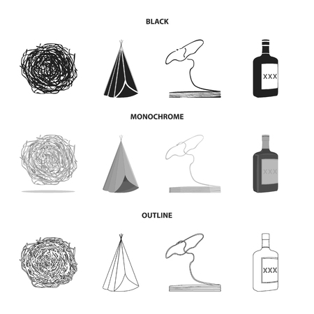 Roll-field, Indian wigwam, lasso, whiskey bottle. Wild West set collection icons in black,monochrome,outline style bitmap symbol stock illustration web.
