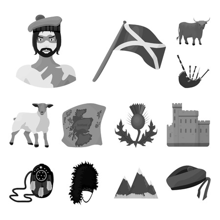 Country Scotland monochrome icons in set collection for design. Sightseeing, culture and tradition bitmap symbol stock web illustration.