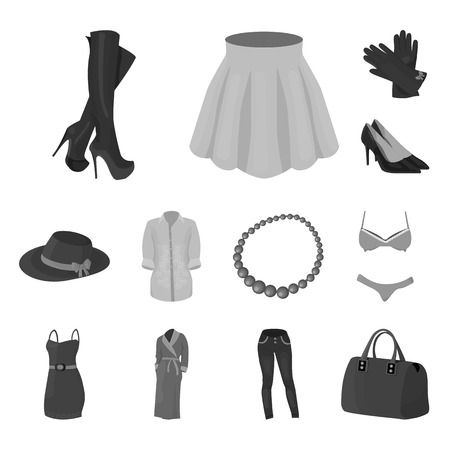 Womens Clothing monochrome icons in set collection for design.Clothing Varieties and Accessories bitmap symbol stock web illustration. Stock Photo