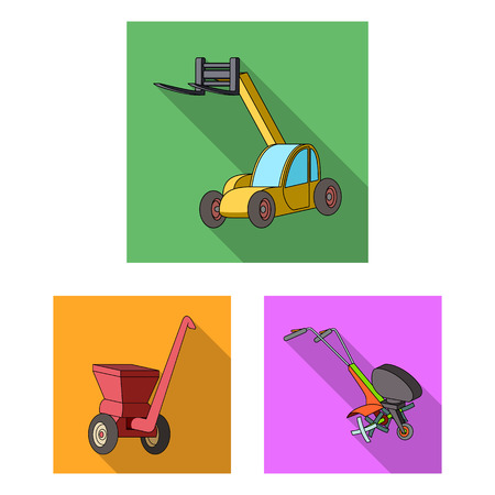 Agricultural machinery flat icons in set collection for design. Equipment and device vector symbol stock web illustration.  イラスト・ベクター素材