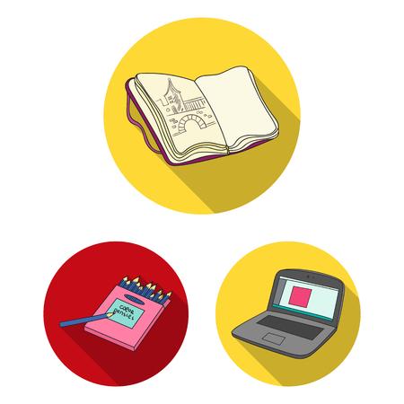 Peintre et dessin d'icônes plats dans la collection de jeu pour la conception. Accessoires artistiques vector illustration stock web symbole.