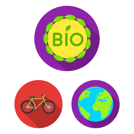 Bio and ecology flat icons in set collection for design. An ecologically pure product vector symbol stock web illustration. Иллюстрация