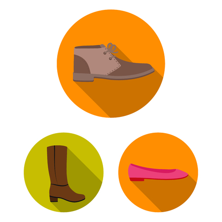 A variety of shoes flat icons in set collection for design. Boot, sneakers vector symbol stock web illustration.