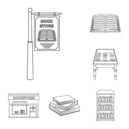 biblioteca y televisión iconos de contorno en conjunto de colección para libros . diseño de libros y sitios web vector ilustración de símbolo .