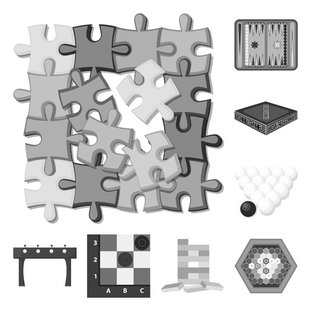Board game monochrome icons in set collection for design. Game and entertainment vector symbol stock web illustration. Иллюстрация