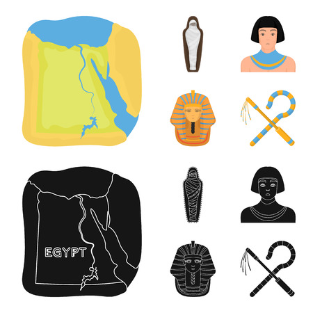 Crook and flail,a golden mask, an egyptian, a mummy in a tomb.Ancient Egypt set collection icons in cartoon,black style vector symbol stock illustration web.