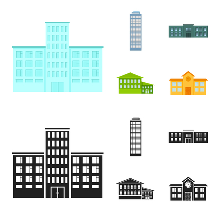 Skyscraper, police, hotel, school.Building set collection icons in cartoon,black style vector symbol stock illustration web. Standard-Bild - 107027731