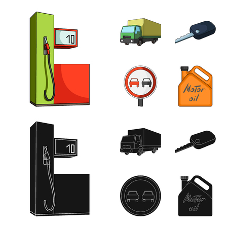 Truck with awning, ignition key, prohibitory sign, engine oil in canister, Vehicle set collection icons in cartoon,black style vector symbol stock illustration web.