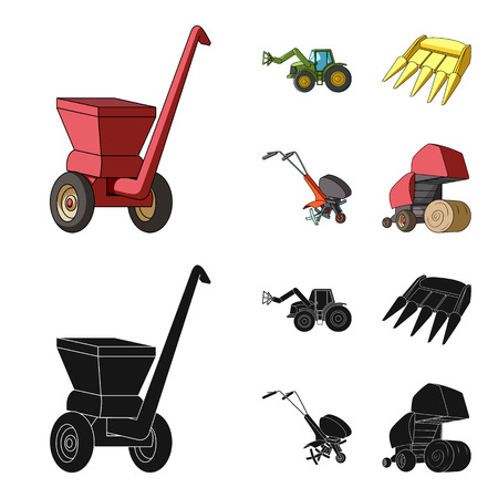 Motoblock and other agricultural devices. Agricultural machinery set collection icons in cartoon,black style vector symbol stock illustration web. Illustration