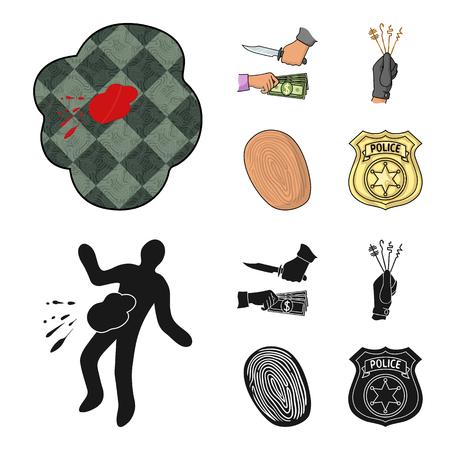Robbery attack, fingerprint, police officer badge, pickpockets.Crime set collection icons in cartoon,black style vector symbol stock illustration web. Illustration