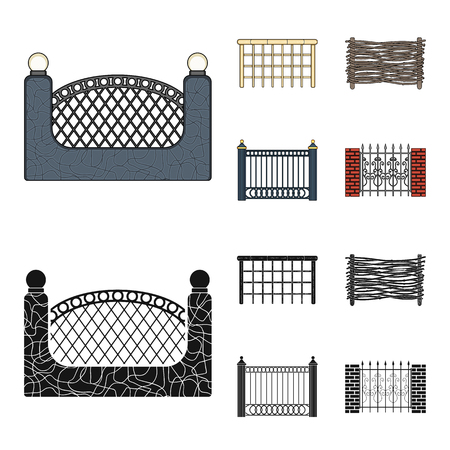 A fence of metal and bricks,wooden palisade. A different fence set collection icons in cartoon,black style vector symbol stock illustration web.