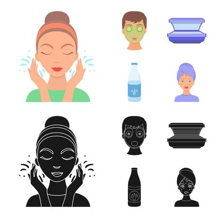 Face mask, solarium, bottle ts lasenom, pimples on face. Skin Care set collection icons in cartoon,black style vector symbol stock illustration web. Stock Illustratie