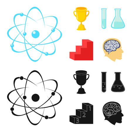 A cup, test tubes with a reagent, a pedestal, a man head with a brain. School set collection icons in cartoon,black style vector symbol stock illustration web.