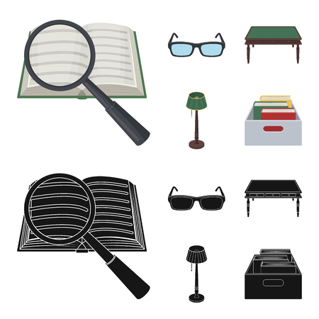 Glasses, a wooden table, a floor lamp, a box with books. A library and a bookstore set collection icons in cartoon,black style vector symbol stock illustration web.