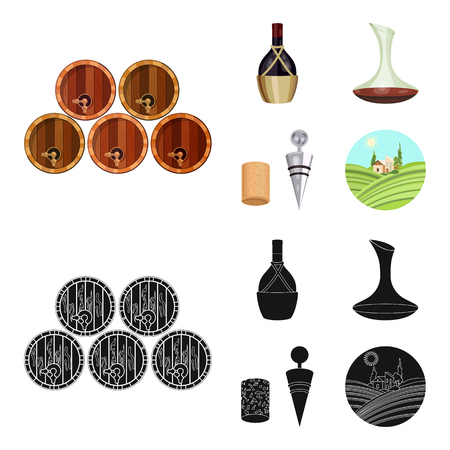 A bottle of wine in a basket, a gafine, a corkscrew with a cork, a grape valley. Wine production set collection icons in cartoon,black style vector symbol stock illustration web. Çizim