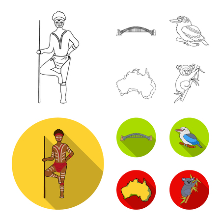 Aborigine with a spear, Sydney Harbor Bridge, kookabarra on a branch, the territory of the country.Australia set collection icons in outline,flat style vector symbol stock illustration web. Illustration