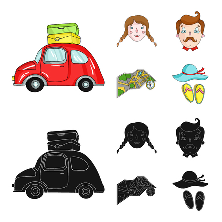 Travel, vacation, camping, map .Family holiday set collection icons in cartoon,black style vector symbol stock illustration web.