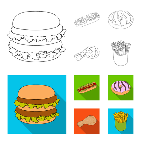 Fast ,food, meal, and other web icon in outline,flat style.Hamburger, bun, flour, icons in set collection.