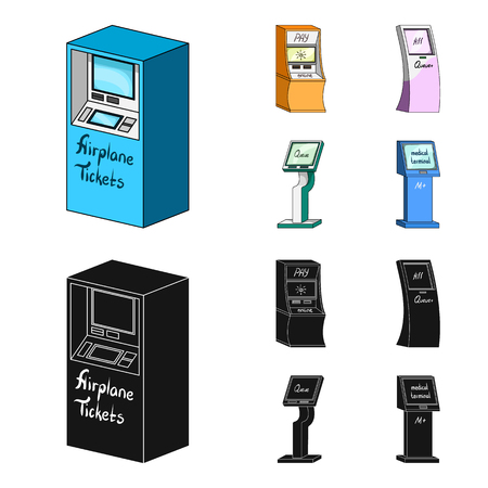 Medical terminal, ATM for payment,apparatus for queue. Terminals set collection icons in cartoon,black style isometric vector symbol stock illustration web .
