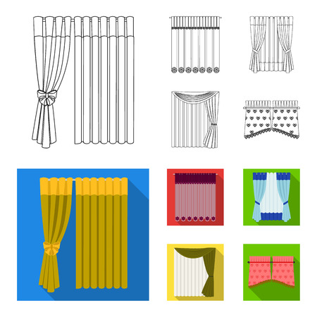 Curtains, drapes, garters, and other web icon in outline,flat style. Textiles, furniture, bow icons in set collection.