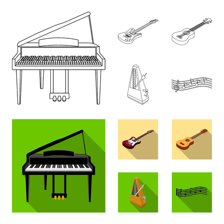 Musical instrument outline,flat icons in set collection for design. String and Wind instrument isometric vector symbol stock web illustration.