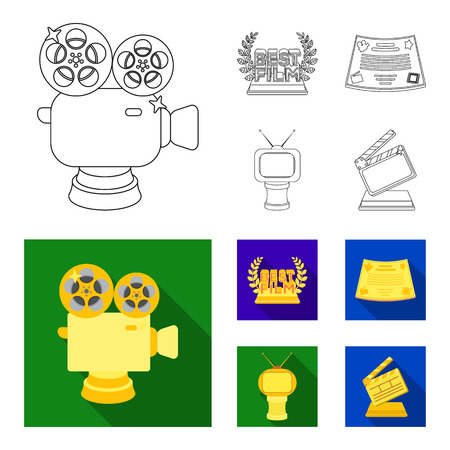 Silver camera. A bronze prize in the form of a TV and other types of prizes.Movie award,sset collection icons in outline,flat style vector symbol stock illustration web.