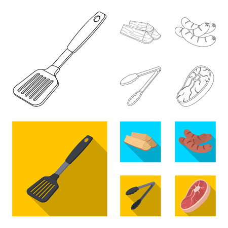 Blade kitchen, firewood, sausages and other for barbecue.BBQ set collection icons in outline,flat style vector symbol stock illustration web.