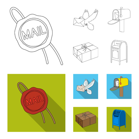 Wax seal, postal pigeon with envelope, mail box and parcel.Mail and postman set collection icons in outline,flat style vector symbol stock illustration web. Stock Illustratie