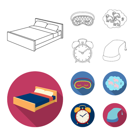 A bed, a blindfold, counting rams, an alarm clock. Rest and sleep set collection icons in outline,flat style vector symbol stock illustration web. Illustration