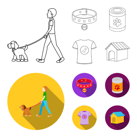 A man walks with a dog, a collar with a medal, food, a T-shirt I love dog.Dog set collection icons in outline,flat style vector symbol stock illustration web.
