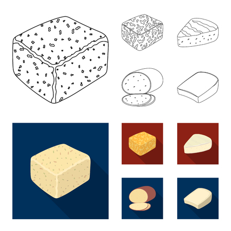 Brynza, smoked, colby jack, pepper jack.Different types of cheese set collection icons in outline,flat style vector symbol stock illustration web. Illustration