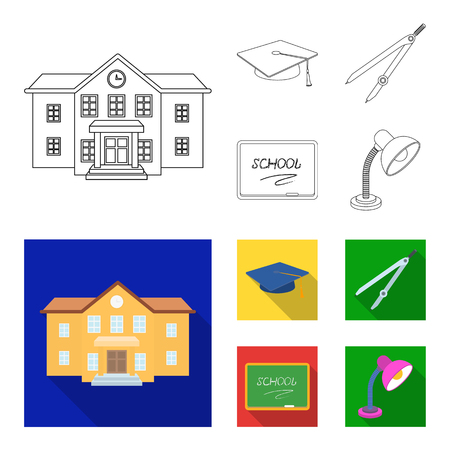 School building, college with windows, a master or applicant hat, compasses for a circle, a board with a chalk school inscription. School and education set collection icons in outline,flat style vector symbol stock illustration web.