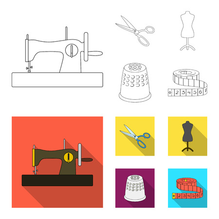 Manual sewing machine, scissors, maniken, thimble.Sewing or tailoring tools set collection icons in outline,flat style vector symbol stock illustration web. Illustration