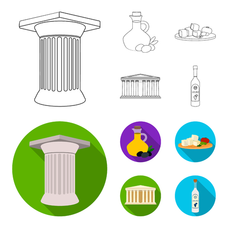 Greece, country, tradition, landmark .Greece set collection icons in outline,flat style vector symbol stock illustration web.