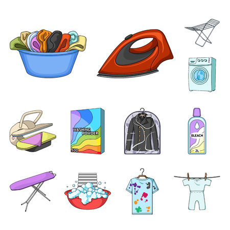 Dry cleaning equipment cartoon icons in set collection for design. Washing and ironing clothes vector symbol stock web illustration.