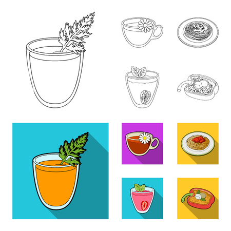 Carrot juice in a glass, chamomile tea in a cup, porridge on a plate, strawberry juice in a glass with a leaf. Vegetarian dishes set collection icons in outline,flat style vector symbol stock illustration web.