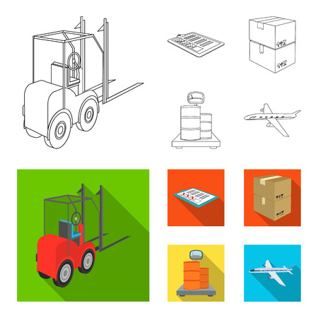 Forklift, delivery slips, packaged goods, cargo on weighing scales. Logistics and delivery set collection icons in outline,flat style isometric vector symbol stock illustration web.