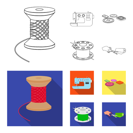 Thread reel, sewing machine, bobbin, pugwitz and other equipment. Sewing and equipment set collection icons in outline,flat style vector symbol stock illustration web.