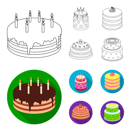 Sweetness, dessert, cream, treacle .Cakes country set collection icons in outline,flat style vector symbol stock illustration web.