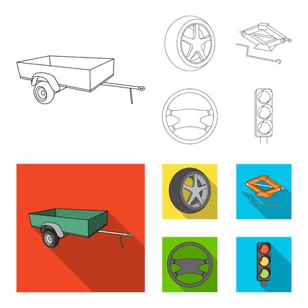 Caravan, wheel with tire cover, mechanical jack, steering wheel, Car set collection icons in outline,flat style vector symbol stock illustration web. Ilustração