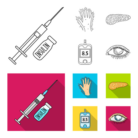 Syringe with insulin, pancreas, glucometer, hand diabetic. Diabet set collection icons in outline,flat style vector symbol stock illustration web. Stock Illustratie