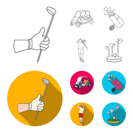 A gloved hand with a stick, a golf cart, a trolley bag with sticks in a bag, a man hammering with a stick. Golf Club set collection icons in outline,flat style vector symbol stock illustration web. Illustration
